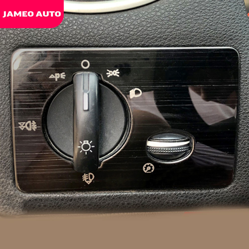 Jameo Auto Car Headlights Switch Adjustment Knob Panel Cover Trim Sticker Fit For Ford Focus 2 MK2 2005 - 2011 LHD Accessories