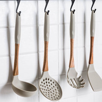 6Pcs/Set New Silicone+Wood Cooking Tool Sets Kitchen Utensils Sets Cookware Soup Spoon Spatula Turner Strainer Kitchenware