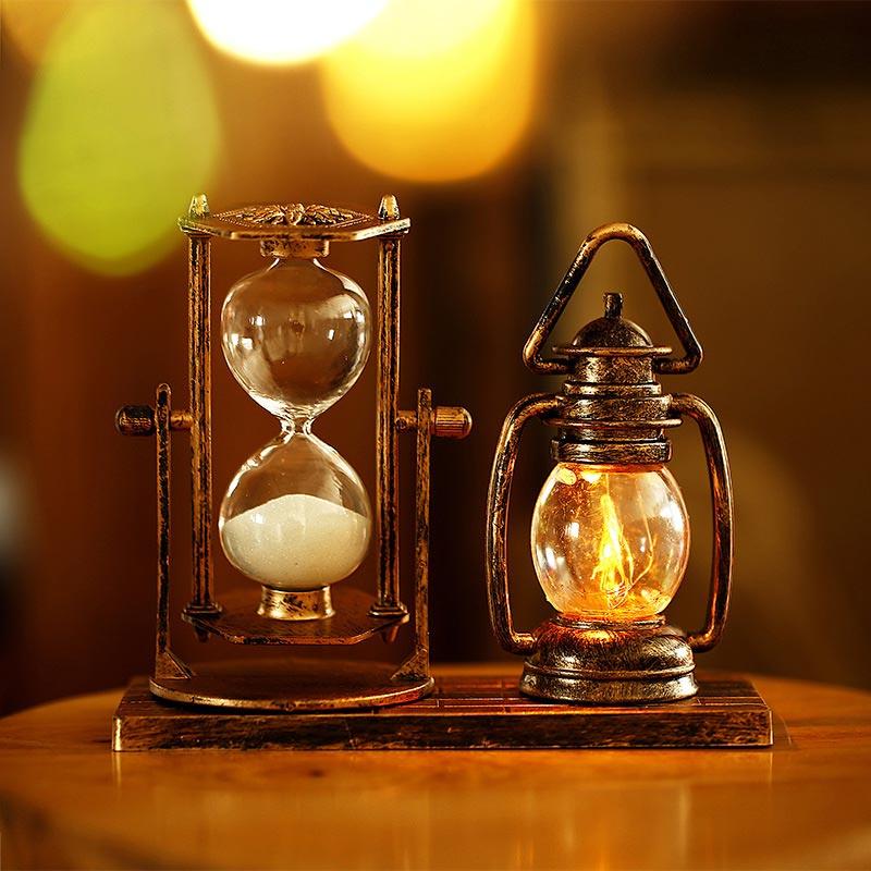 BRELONG Creative Retro Luminous Lantern + Hourglass Decoration Ornaments Hourglass Craft Desktop Decoration