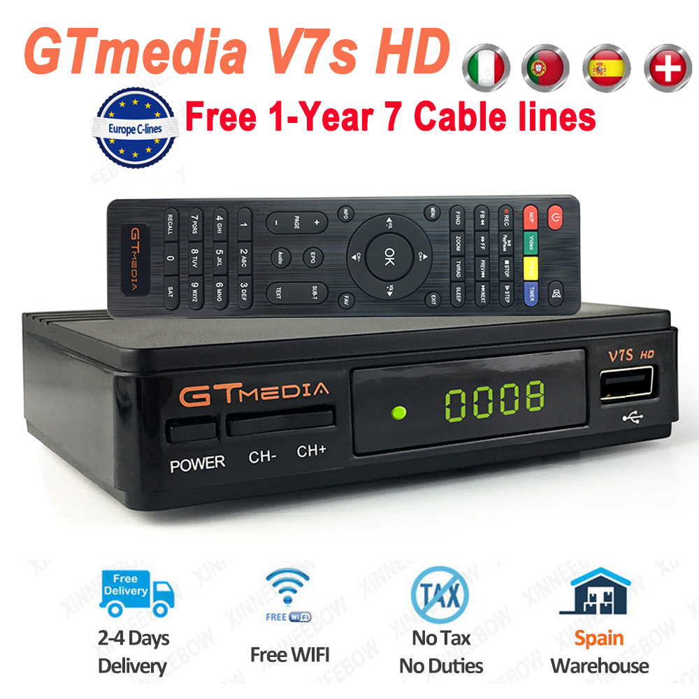 GTmedia V7s HD Satellite Receiver HD 1080P DVB-S2 Free 1-YEAR 7 Cable Lines Europe Support Youtube GTmedia V7s HD TV Receiver