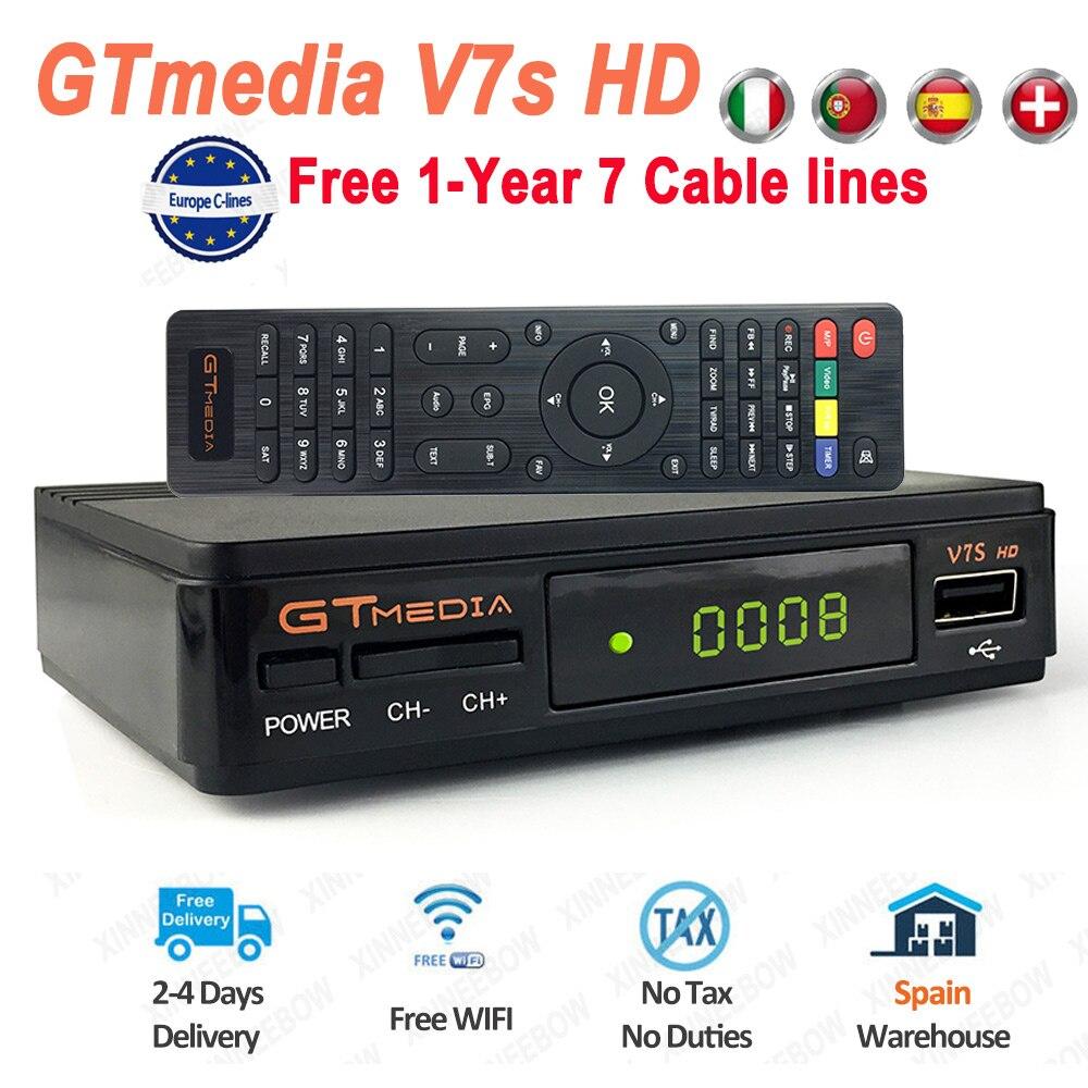Genuine Original GTmedia V7S HD DVB-S2 Satellite TV Receiver HD TV Tunner Receptor V7 HD With USB WiFi Europe 7 Cable Lines New