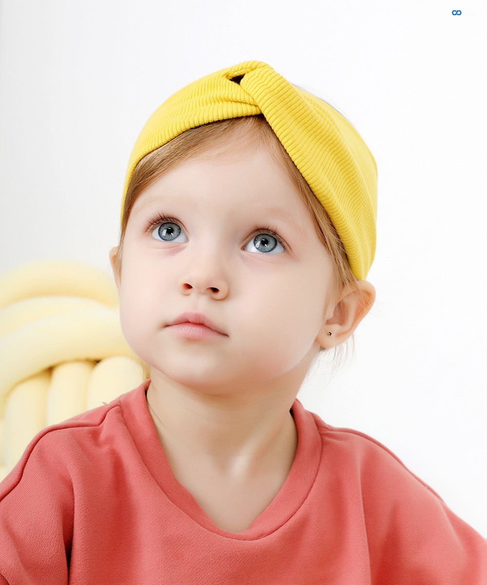 Cotton Knit Baby Headbands For Girls Handmade Solid Stretchy Soft Knot Bow Baby Turban Headband Newborn Infant Hair Accessories