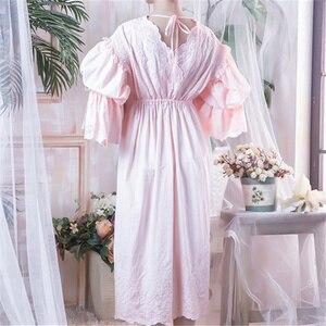 Image 3 - Wiktoriańskie koszule nocne Sleepshirts Vintage bielizna nocna kobiety bielizna nocna z długim rękawem wysoka talia popędzający noc Maxi sukienka Plus rozmiar T282