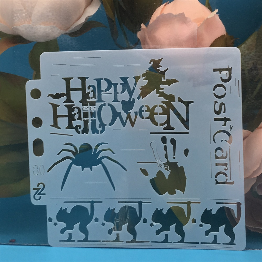14*13cm Halloween Spider Blood DIY Layering Stencils Painting Scrapbook Coloring Embossing Album Decorative Card Template