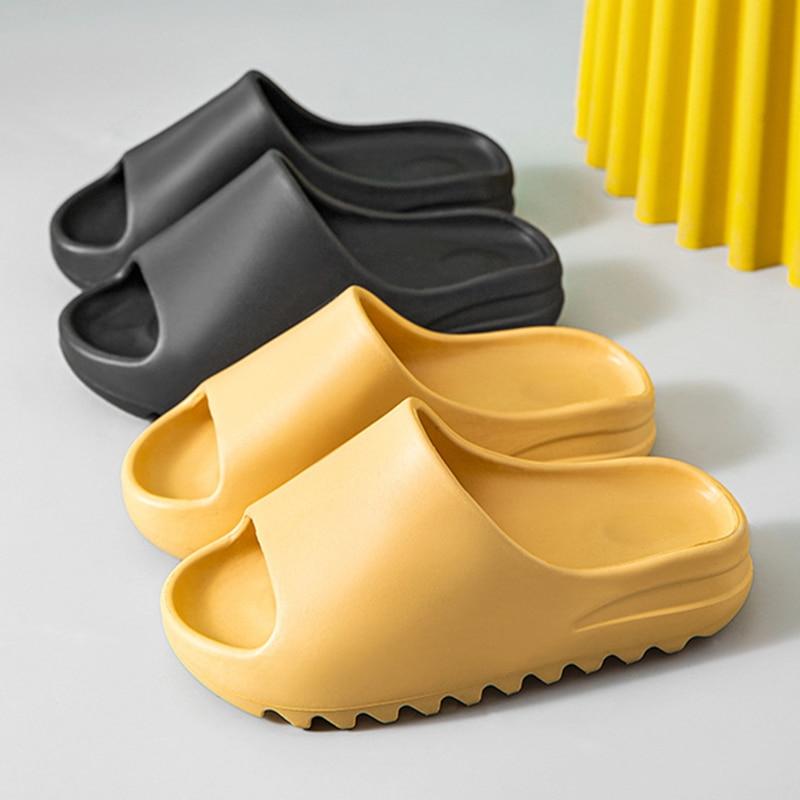 Platform Slippers Couples Bottom-Serrated-Sole Bathroom Summer Women Indoor Thick 4cm