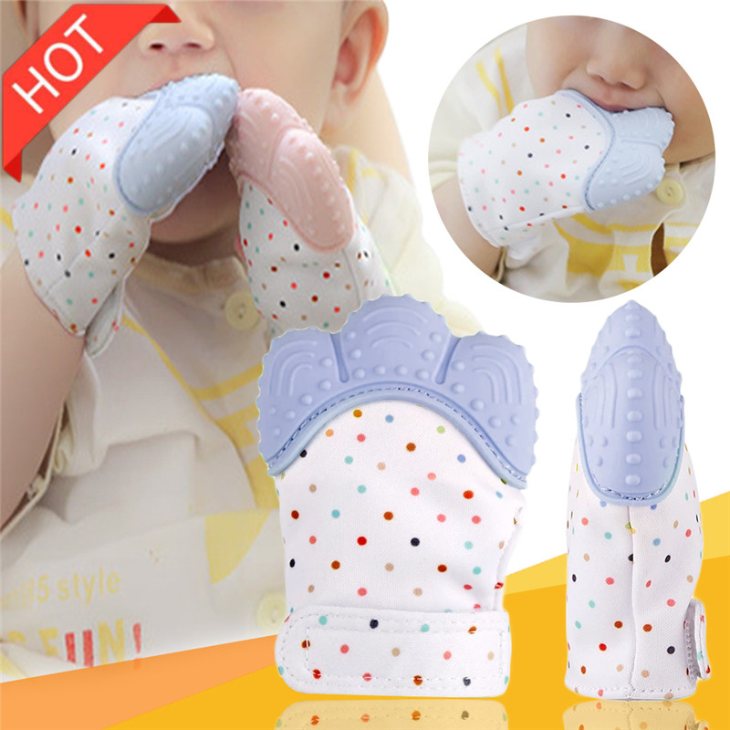 2Pcs Baby Silicone Mitts Mitten Glove Teethers Toy Newborn Nursing Mittens Teether Sucking Fingers Teething Toys Do Dropshipping
