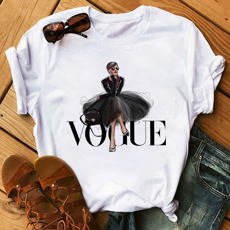 Maycaur Vogue Princess T Shirt Harajuku Ulzzang Print Female Tshirt Cartoon Funny Tops Tees Fashion Graphic Femme Tshirts