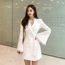 2019 Modis Designer Brand Runway Dress Women Lace Patchwork Flare Sleeve White Blazer Dress Women Singer Button Black Mini Dress(China)