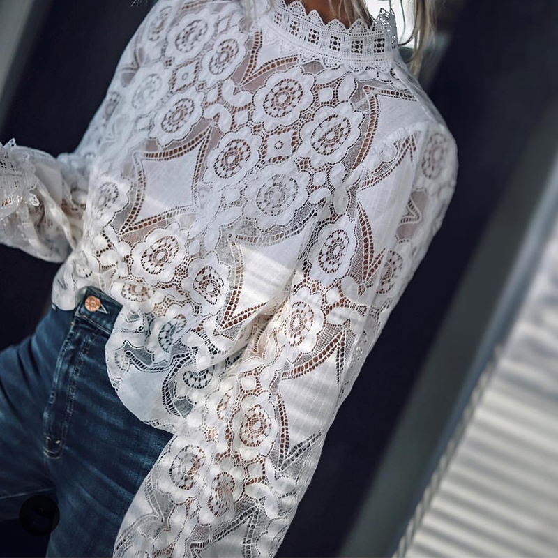 Women Sexy Hollow Out Lace Blouse Office Ladies Stand Collar Long Sleeve Solid Shirt 2019 Autumn Casual Elegant Blouse And Tops