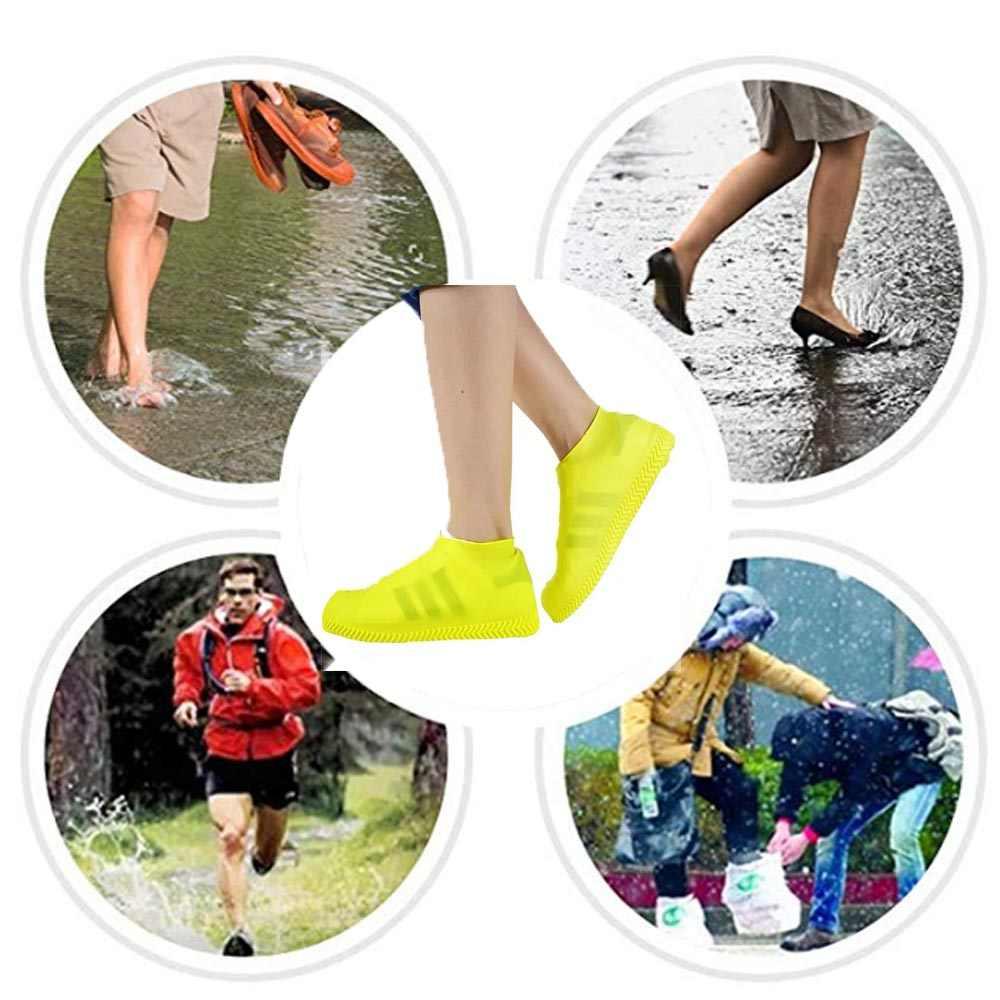1 para wodoodporny pokrowiec na buty materiał silikonowy Unisex buty ochraniacze kalosze na kryty Sport antypoślizgowe na zewnątrz deszczowe dni