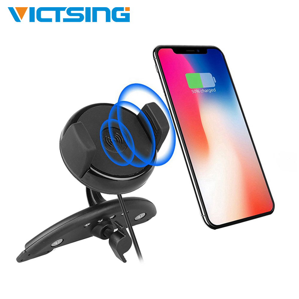 VicTsing cargador inalámbrico para el teléfono del coche base de carga soporte de ranura de CD para el coche Universal teléfono móvil cargador inalambrico