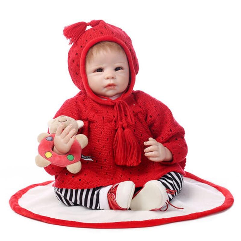 Handmade Bebe Lifelike 22'' Reborn Baby Girl Dolls Vinyl Newborn Toddler+Clothes Toys for Girls  Toddler Boy Toys