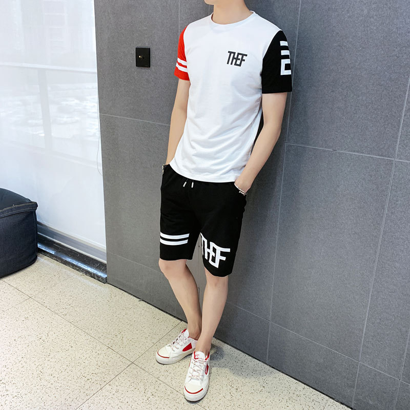 Summer Leisure Sports Suit MEN'S Short-sleeved T-shirt Two-Piece Set Korean-style Fashion Shorts Teenager Students Leisure Suit