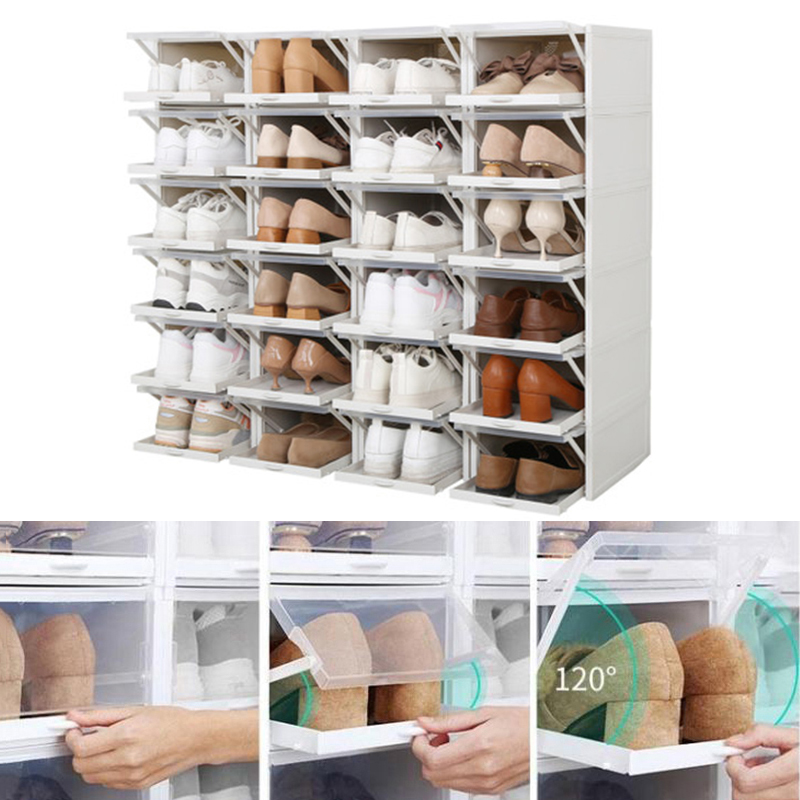 3PCS Push-pull Drawer Shoe Box Foldable Organizer Drawer Plastic Shoe Stackable Storage Rectangle For Sports Shoes Rack For Lazy