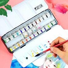 Super Vision 12/24Colors Professional Solid Watercolor Paint Set Artist Water Colour Pigment Aquarelle For Painting Art Supplies
