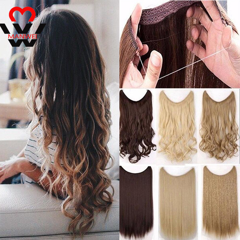 MANWEI24inch Of Wig Women Long Curly Fish Line Hair Big Wave Invisible Seamless Hair Bundle Fluffy Natural Wig Piece Headwear