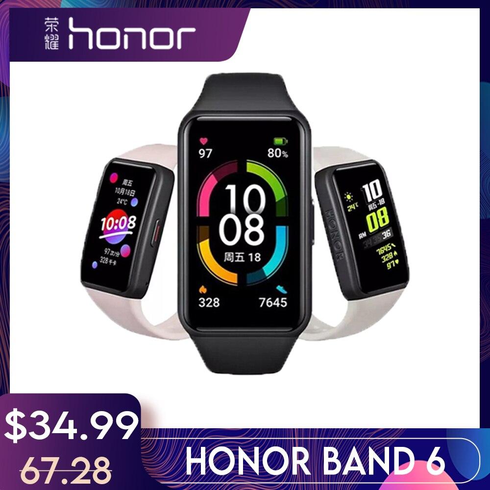 Смартчасы 2020 Honor Band6 С Пульсоксиметром Фитнес 1st Полный Экран 1,47