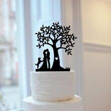 Пользовательские собаки или кошки свадебный торт Топпер, дерево невесты и жениха силуэт свадебный торт Топпер Персонализированные Mr & Mrs ве...