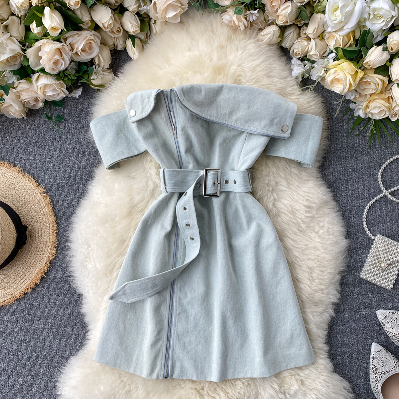 FMFSSOM 2020 New Summer Women Sexy Off Shoulder Strapless Dresses Female With Belt Zipper High Waist Dress