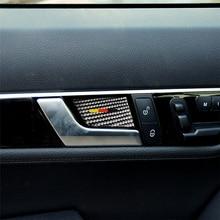 Carbon Fiber Interior Decoration Inner Door Handle Bowl Cover Trim for Mercedes Benz W204 W212 C Class E Car Decals 4pcs