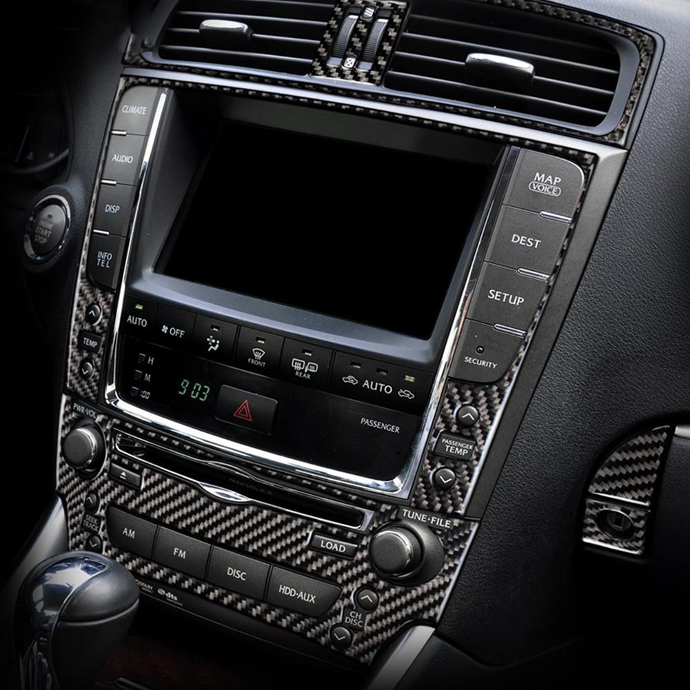 For LEXUS IS250 300 350 2006-2011 2012 Car Interior Cover Trim Carbon Fiber Air Outlet CD Navigation Pancel Trim Decor Stickers