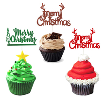 5/10pcs Merry Christmas Cupcake Toppers Decorations for Home Reindeer Antlers Tree Cake Navidad Noel