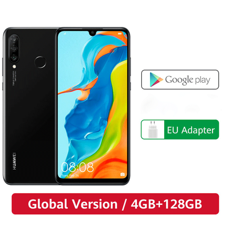 Em estoque versão global huawei p30 lite 4 gb 128 gb smartphone 6.15 polegada kirin 710 octa núcleo celular android 9.0 celular