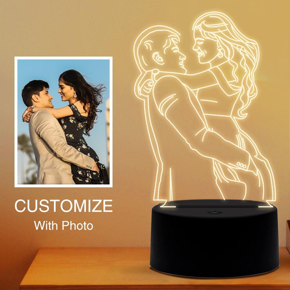Индивидуальный 3D ночник с фото/текстом, 7 цветов, светодиодный светильник, индивидуальный светильник для Рождества, свадьбы, подарка на День Матери