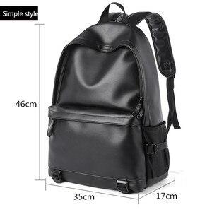Image 5 - Sac à dos en cuir homme, sacs décole noirs pour adolescents, sacoche pour livres collège sacs à dos dordinateur portable