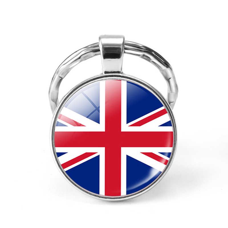 旗アメリカイギリスブラジルロシアスペイングラマーガラスドームキーリングパンク女性男性ファッションアクセサリーキーホルダーお土産ギフト