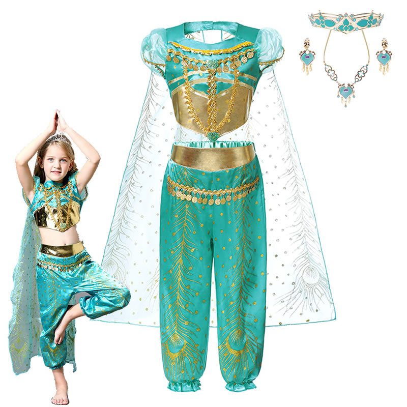 Aladdin Jasmine Dress Up Dresses For Girls Peacock Print Cloak Arabian Princess Cosplay <font><b>Sari</b></font> Suits <font><b>Indian</b></font> Sets <font><b>Kids</b></font> Green Saree image