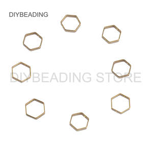 50-500 Pcs Brass Hexagon Connector Finding for Earrings Necklace Making 6mm 8mm 12mm