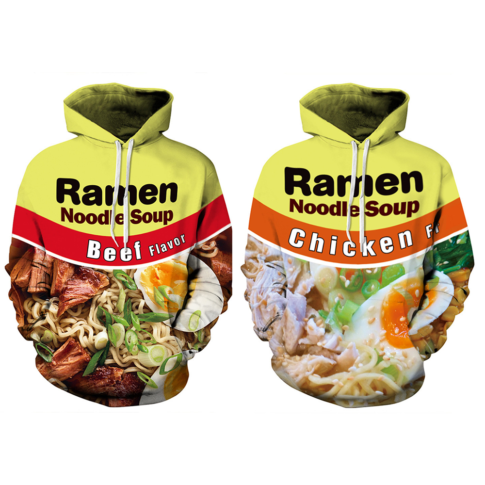 Men Ramen Noodle Beef Chicken Soup 3D Print Hoodies Sweatshirt Casual Pullover Unisex Plus Size Autumn Winter Streetwear Women