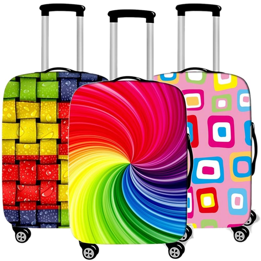Fashion Rainbow Luggage Case Protective Cover Elastic Suitcases Dust Cover Travel Accessories Organizadores 18-32 Xl Inch