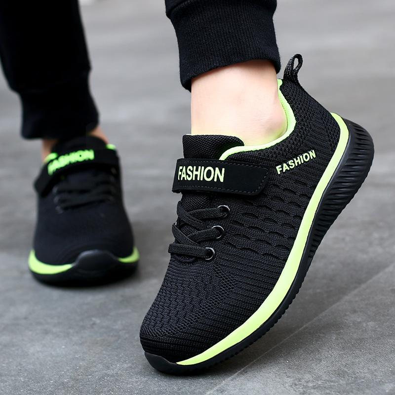 2021 Fashion Kids Sport Shoes Boys Hook&Loop Running Sneakers Breathable Mesh  Casual Sneakers Children Walking Shoes 5 12 Years