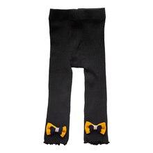 Осенне зимние теплые детские вязаные леггинсы для девочек брюки