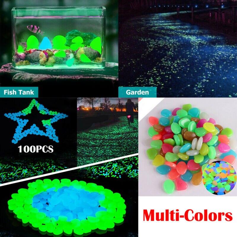 US 100PCS Luminous Artificial Pebble Stone Aquarium Fish Tank Deco Accessories