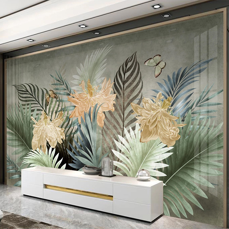 Custom 3D Wallpaper Modern Plants Leaves Flowers And Birds Murals Living Room TV Sofa Bedroom Home Decor Wall Papers For Wall 3D