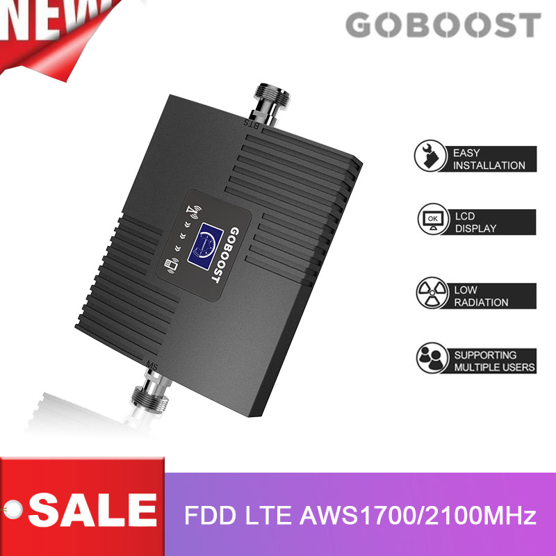 4G FDD LTE Signal Booster LCD Display AWS 1700 2100 Mhz Band 4 65dB Gain Cell Mobile Phone Signal Amplifier AWS 1700MHz Repeater