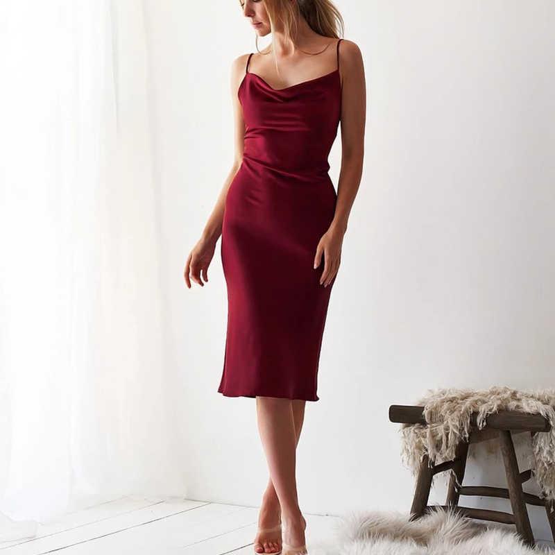 Elegante vestido midi de satén con lazo para mujer, vestido sin mangas largo con espalda al aire, ropa sexi de fiesta vintage, ropa para van de verano