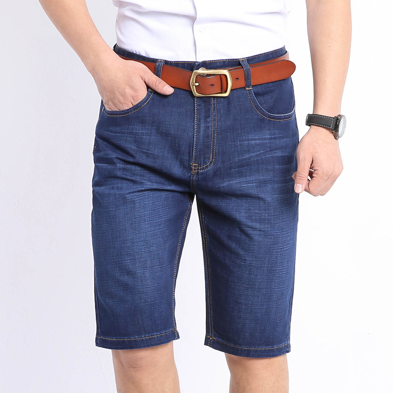 Business MEN'S Jeans Shorts In Old Man Dad-Elasticity High-waisted Straight-Cut Loose-Fit Summer Thin Section Breathable