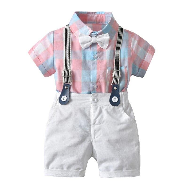 4 pièces/ensemble bébé garçons vêtements Plaid imprimé chemise + Shorts + bretelles + nœud papillon enfants été enfants vêtements costume mode # E
