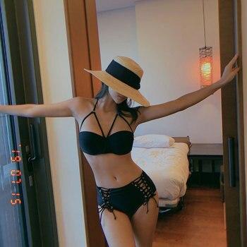 Swimsuit Woman Bikini Girls New Tankini Women 2020 Deuce Two Piece Split Underwire Bracket Push Up High Waist Covering Strap 4