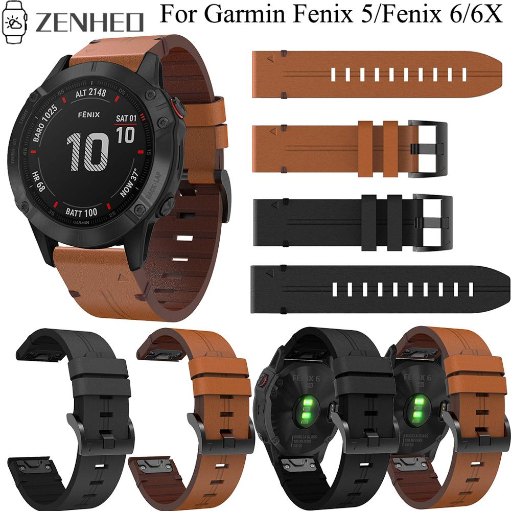 22mm 26mm Leather Strap For Garmin Fenix 6/6X Replacement Quick Release Watchband For Garmin Fenix 5/5 Plus/5X Smart Watch Band