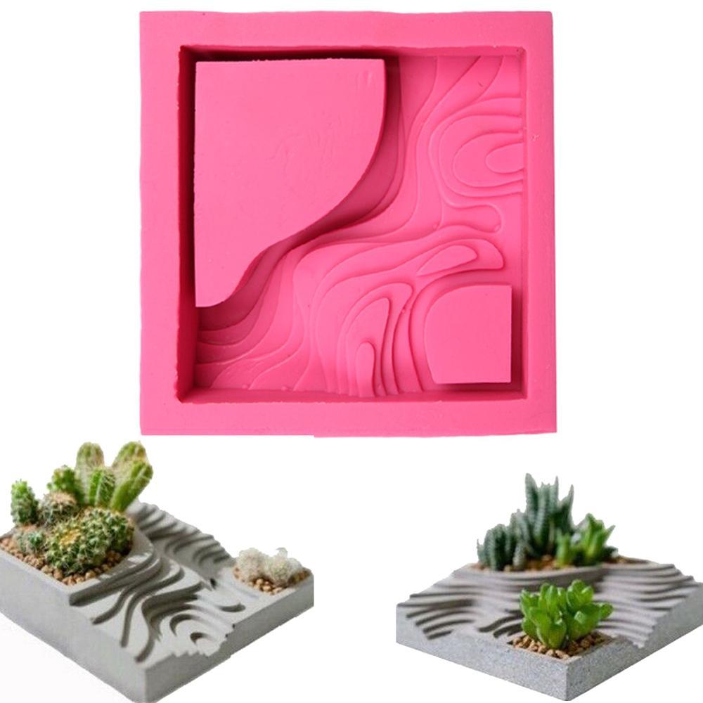 Succulent Flower Plants Planter Mould Terraced Field Pattern Shape Concrete Clay Craft Graden Decor Cement Silicone Molds(China)