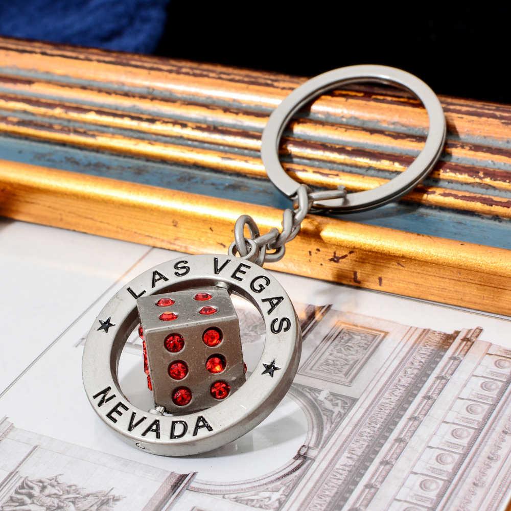 جديد Vicney العصرية حجر الراين النرد لاس فيغاس المفاتيح الشرير سيارة حقيبة المرأة مفتاح سلسلة قوي مجوهرات هدايا المحمولة الموجودة في قاعدة المفتاح حلقات مفاتيح