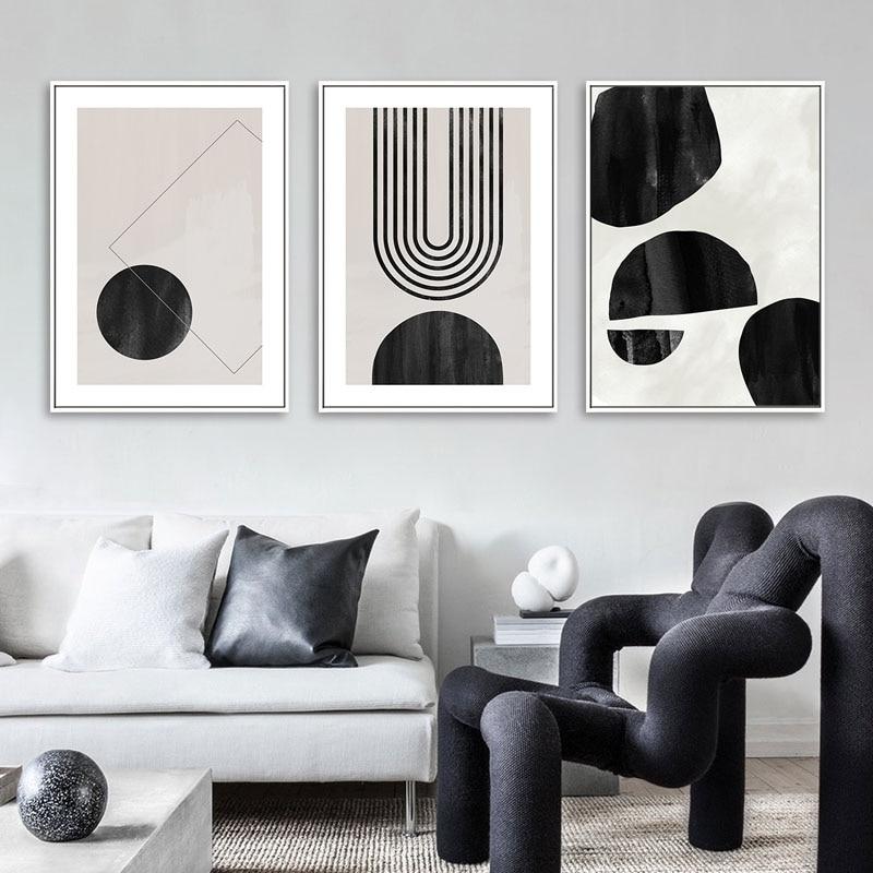 Современная Абстрактная Геометрическая Настенная живопись на холсте черный белый постер печатные картины в скандинавском стиле для гости...