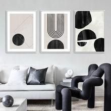 Abstracto moderno geométrico arte da parede pintura em tela preto branco cartaz impressão fotos estilo escandinavo sala de estar decoração casa