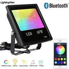 60W Bluetooth 4.0 RGB reflektor reflektor pejzaż z ogrodem światło halogenowe inteligentna kontrola grupy App zewnętrzne inteligentne światło sceniczne