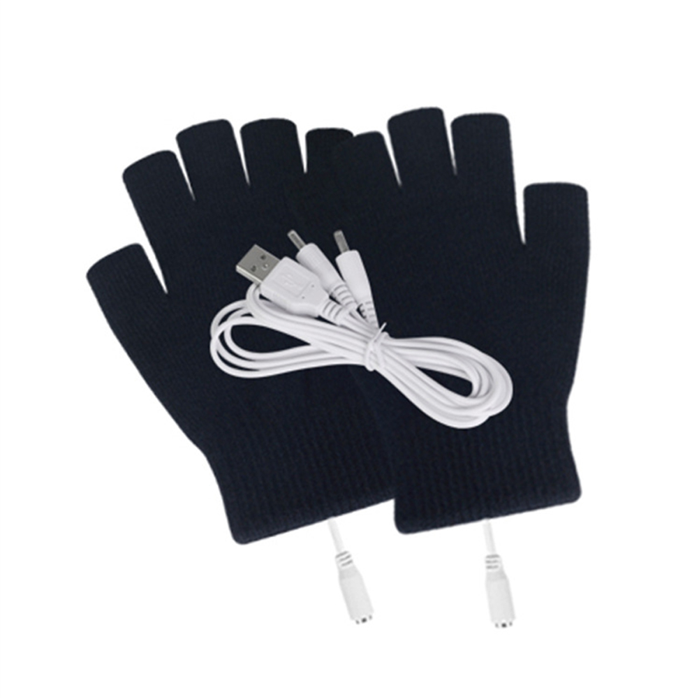 2PCS Washable With Cover Skiing Winter Knitting Outdoor Mitten Warm Sports Practical Heating Gloves Cycling USB Connection